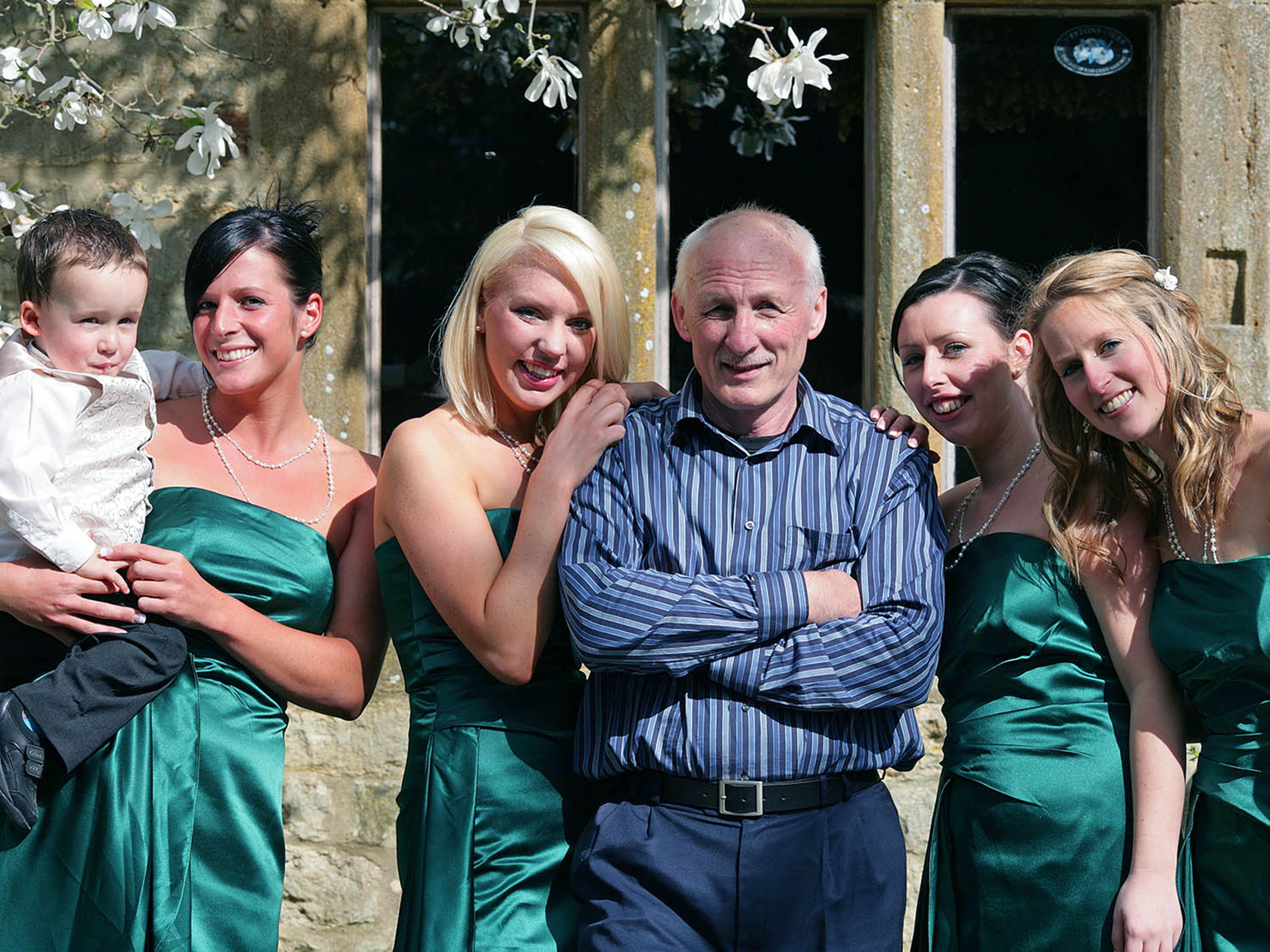 Photographer with wedding bridesmaids